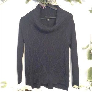 Sweaters - Navy cowl neck  back button up sweater size small